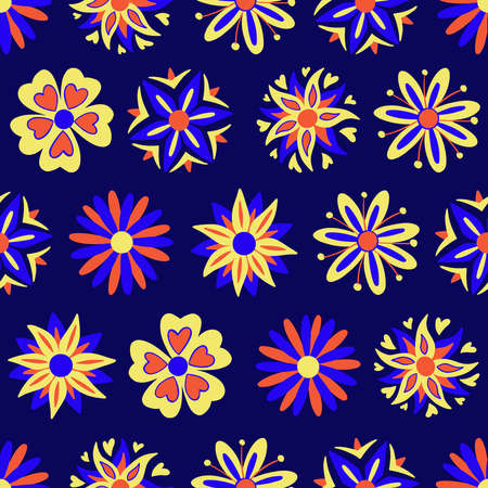 Abstract flowers seamless pattern. Vector illustration pattern for surface, t shirt design, print, poster, icon, web, graphic designs.