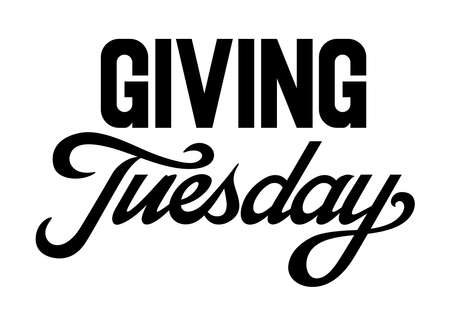 Giving Tuesday brush hand lettering art. Script style letters on isolated background. Black and white. Vector text illustration t shirt design, print, poster, icon, web, graphic designs.