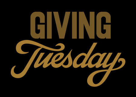Giving Tuesday brush hand lettering art. Script style Gold letters on isolated black background. Vector text illustration t shirt design, print, poster, icon, web, graphic designs.