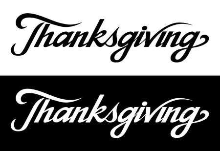 Thanksgiving brush hand lettering art. Script style letters on isolated background. Black and white. Vector text illustration t shirt design, print, poster, icon, web, graphic designs. 向量圖像