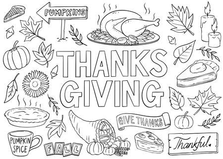 Thanksgiving ornaments doodle collection. Black and white doodle style vector illustration. Vector Illustration