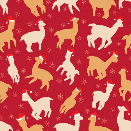 Christmas Llamas seamless pattern. Vector illustration background for surface, t shirt design, print, poster, icon, web, graphic designs.