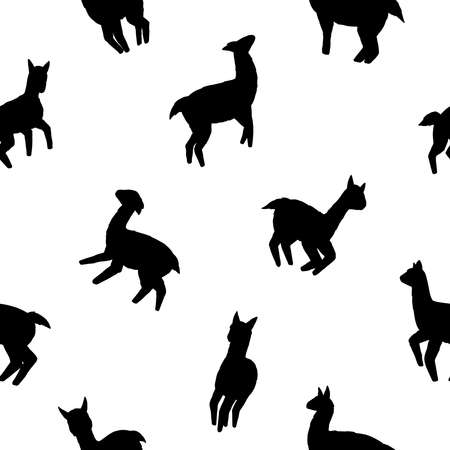 Llamas seamless pattern. Black and white vector illustration background for surface, t shirt design, print, poster, icon, web, graphic designs.