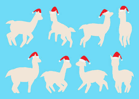 Llamas silhouette with Santa hat collection. Vector illustration set. Isolated on white background
