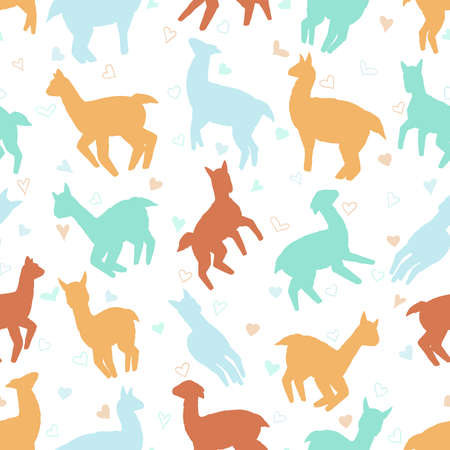 Llamas seamless pattern. Pastel vector illustration background for surface, t shirt design, print, poster, icon, web, graphic designs.