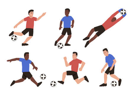 Cartoon male soccer players set. Isolated vector illustration. Active people playing football in different poses. Çizim