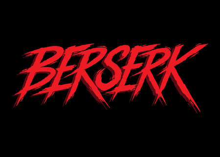 Berserk. Hand lettering word art. Red and black abstract style letters on isolated background. Black and white. Vector text illustration
