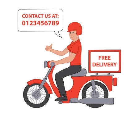 Deliveryman on motorcycle giving a thumbs up. Flat vector illustration concept. Fast food courier service. Isolated on white background.