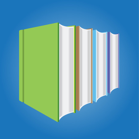 hardcover: Blank Multicolored hardcover book isolated on blue background Illustration