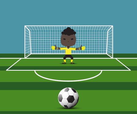 arquero futbol: portero de fútbol se prepara para un tiro penal en la puerta