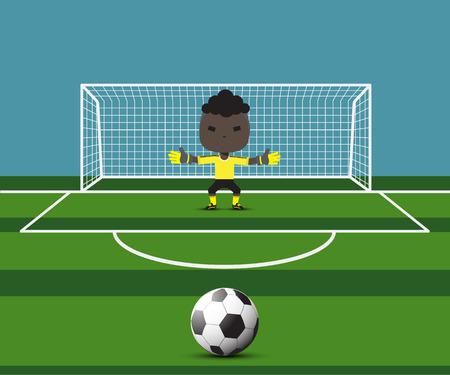 Voetbal doelman voorbereiden op een strafschop op de poort