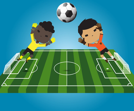 tribune: illustration soccer player goalkeeper jumping catches the ball Illustration
