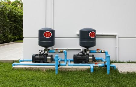 concrete pump: Water pump system on concrete floor