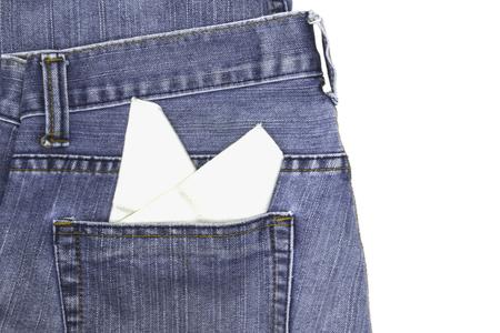 hankie: White hankie on jeans pockets.