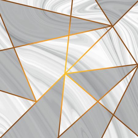 Conception de texture de marbre avec motif de ligne triangle métallique doré. formes de diamant, triangles de paillettes dorées, cristaux. Illustration vectorielle Vecteurs