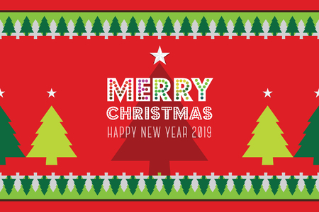 Green Christmas tree made from ribbon vector image on red background. Merry Christmas lettering. New year card. vector illustration EPS  イラスト・ベクター素材