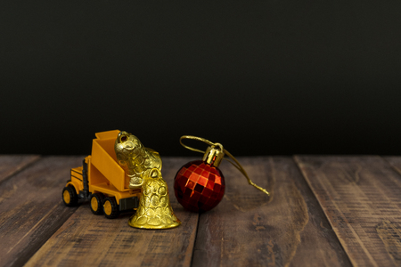 Yellow truck car mini christmas ball with for Christmas decoration. Stock Photo