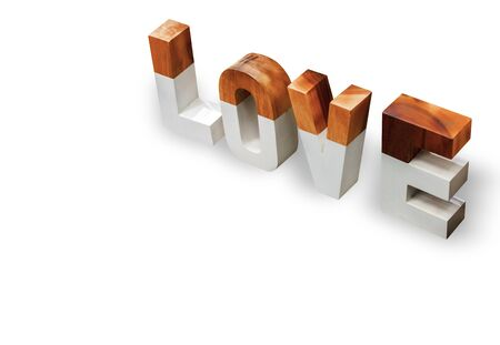 Love word made of wood, isolated on pure white background for graphic. with clipping path