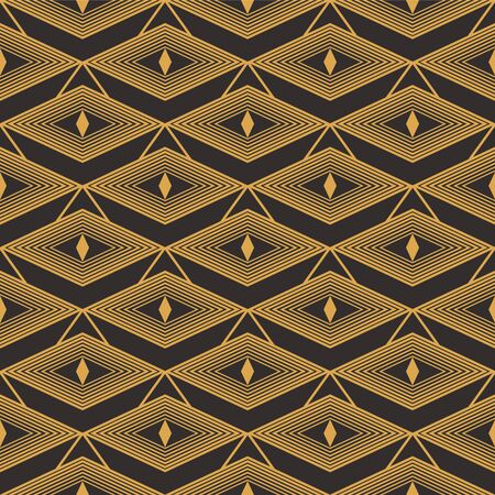 Art Deco seamless luxury geometric pattern. Golden lined shape. Vector Leaves stylish background. Abstract sea shell illustration. Ilustração