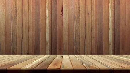 Wood texture background. wood wall and floor. for product placement or editing your product. Wooden board empty table perspective.