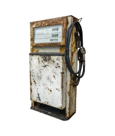 Vintage rusted fuel dispenser Isolated on white background with clipping path.