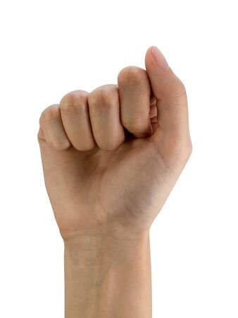 Women's right hand fist isolated on a white background