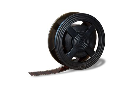 Old vintage film reel isolated on white background