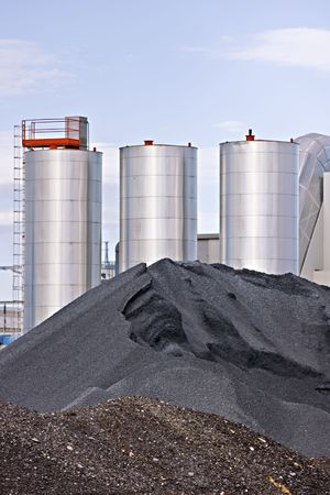 storage bin: Three gravel storage silos Stock Photo