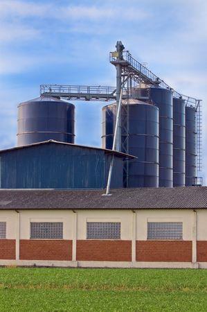 Storage silos in a stock farm Stock Photo