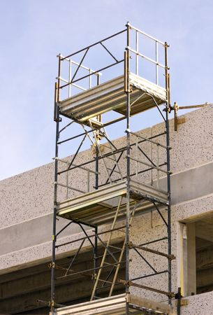 Scaffolding in a building site