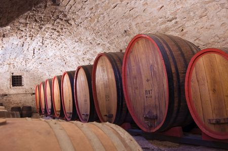 A line of wine casks in a cellar