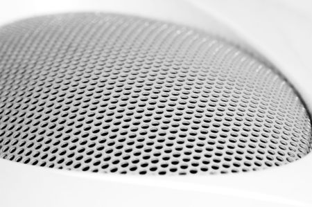 stereo subwoofer: Close-up of a white sound box