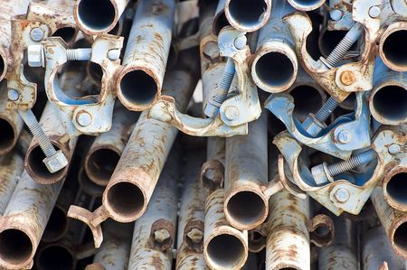 Close-up of scaffolding pipes with block system Stock Photo