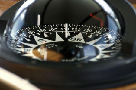 Close-up of a big boat compass