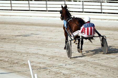 drafje: Draf paard rij den in een race track  Stockfoto