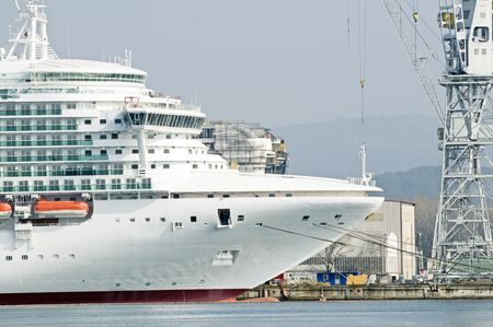 Cruise ship under construction with another in background