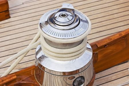 Close-up on a winch used to control sails on a sailboat