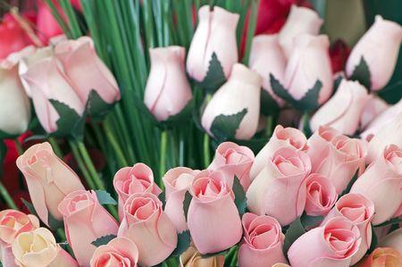 balsa: Boeket van hout tulips als echte bloemen balsa Stockfoto