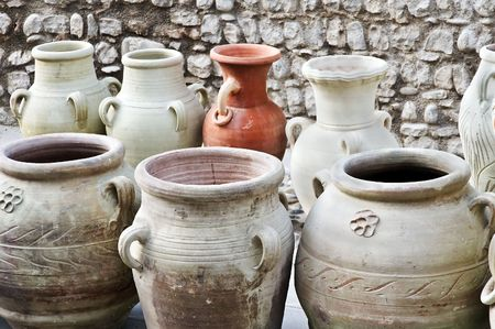 ceramica: Different kind of terracotta containers displayed in a street market
