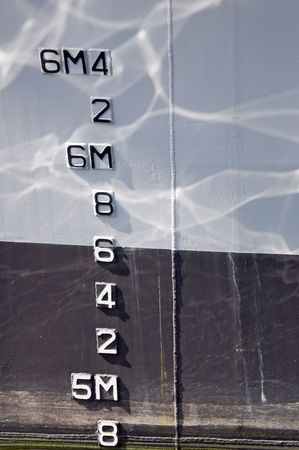 Numbers indicating draft on a boat photo