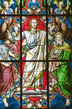 Detail of coloured Stained glass window with jesus