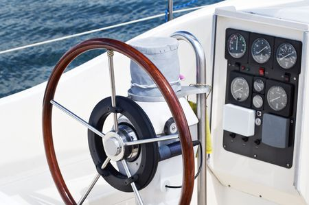 Deatail of rudder and navigation instruments on a sailboat