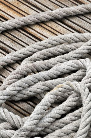hank: Close-up of hank of rope on a wooden jetty