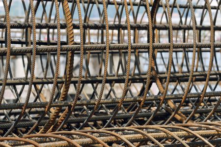 Steel reinforcent cage used like structure for armored concrete pylons Stock Photo