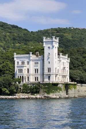 Miramare Castle in Trieste (Italy) viewed from the sea