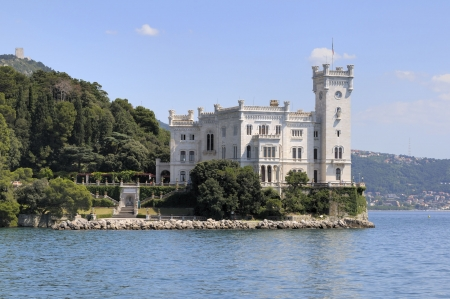Trieste (Italy): Miramare Castle with park Stock Photo