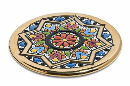 brilliant colors: Handmade coloured pottery painted in gold and brilliant colors