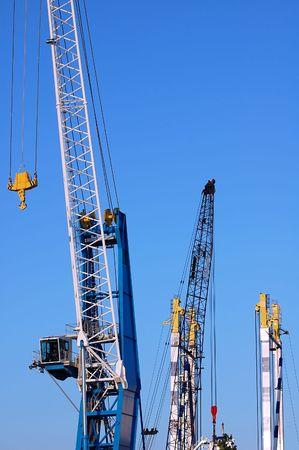 Cranes agains a blue sky Stock Photo