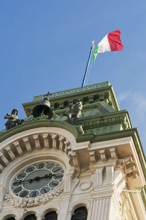 Clock tower detail of Town Hall in Trieste (Italy)