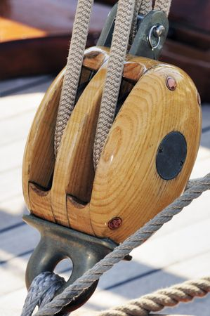 Sailing block with rope of an old sailboat